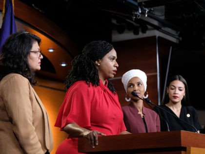 WASHINGTON, DC - JULY 15: (L-R) U.S. Rep. Ayanna Pressley (D-MA) speaks as Reps. Rashida Tlaib (D-MI), Ilhan Omar (D-MN) and Alexandria Ocasio-Cortez (D-NY) listen during a news conference at the U.S. Capitol on July 15, 2019 in Washington, D.C. President Donald Trump stepped up attacks on the four progressive …