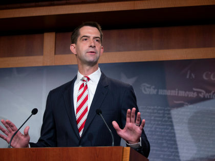 WASHINGTON, DC - JULY 01: Sen. Tom Cotton (R-AR) attends a press conference announcing Senate Republicans' opposition to D.C. statehood on Capitol Hill July 01, 2020 in Washington, DC. The House of Representatives voted on Friday to recognize the District of Columbia as the 51st state. (Photo by Tasos Katopodis/Getty …