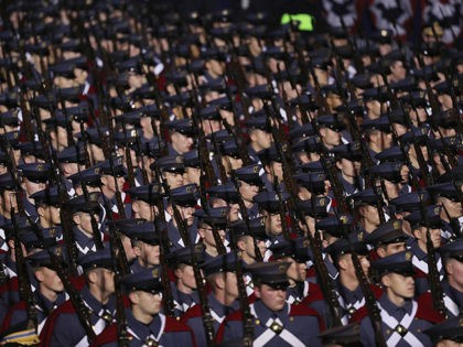 WASHINGTON, DC - JANUARY 20: Virginia Military Institute troops march during the Inaugural Parade on January 20, 2017 in Washington, DC. Donald J. Trump was sworn in today as the 45th president of the United States. (Photo by Patrick Smith/Getty Images)