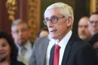 In this Feb. 6, 2020, file photo, Wisconsin Gov. Tony Evers holds a news conference in Madison, Wis. The conservative-controlled Wisconsin Supreme Court on Friday, July 10, 2020, overturned three of four partial budget vetoes issued by Democratic Gov. Tony Evers, bucking decades of court precedent that upheld the governor's …
