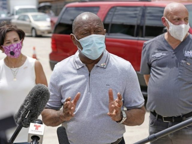 Houston Mayor Sylvester Turner speaks at free COVID-19 testing provided by United Memorial Medical Center at the Mexican Consulate Sunday, June 28, 2020, in Houston. Top officials in Houston are calling for the city to lock back down as area hospitals strain to accommodate the onslaught of patients sick with …