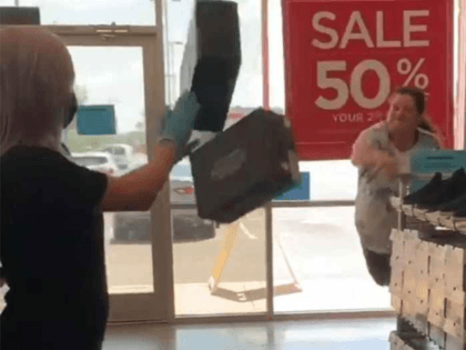 Woman throws shoe boxes at Oklahoma City Sketchers store after being told to wear mask.