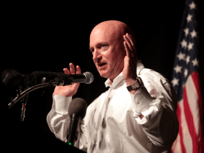 Mark Kelly speaking with supporters of U.S. Congressional candidate Hiral Tipirneni at a campaign rally at the Sun City Grand in Sun City, Arizona, on April 23, 2018.