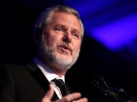 Jerry Falwell Jr. speaking with attendees at the 2nd Annual Turning Point USA Winter Gala at the Mar-A-Lago Club in Palm Beach, Florida.