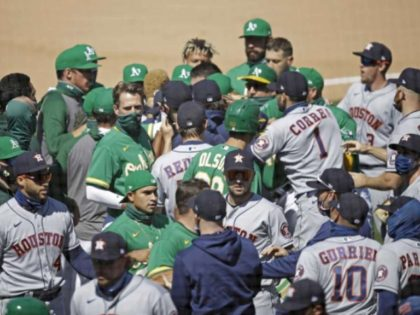 WATCH: Astros and A's Brawl After Laureano Hit-by-Pitch