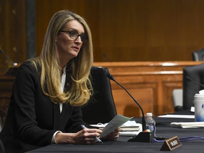 Sen. Kelly Loeffler, R-Ga., asking questions during a virtual Senate Committee for Health, Education, Labor, and Pensions hearing, Tuesday, May 12, 2020 on Capitol Hill in Washington. (Toni L. Sandys/The Washington Post via AP, Pool)