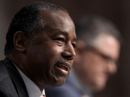 Housing and Urban Development Secretary Ben Carson testifies during a Senate Banking, Housing, and Urban Affairs Committee hearing on Capitol Hill in Washington, Tuesday, June 9, 2020. (Win McNamee/Pool via AP)