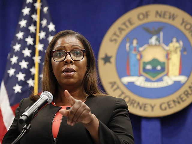 New York State Attorney General Letitia James takes a question after announcing that the state is suing the National Rifle Association during a press conference, Thursday, Aug. 6, 2020, in New York. James said that the state is seeking to put the powerful gun advocacy organization out of business over …