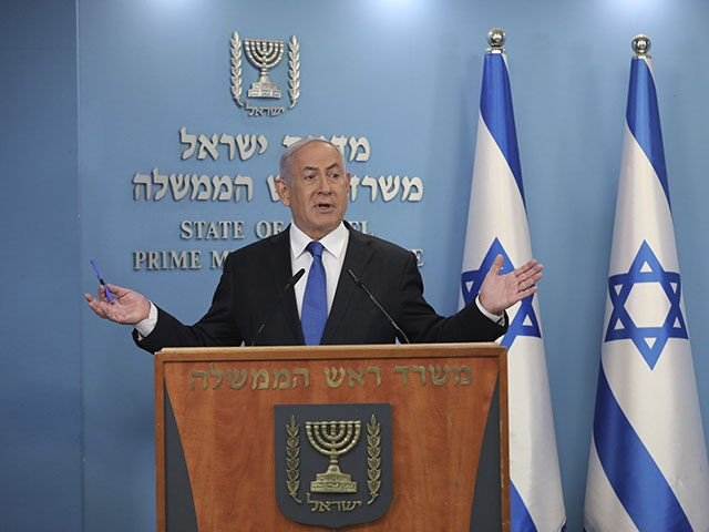 """Israel's Prime Minister Benjamin Netanyahu announces full diplomatic ties will be established with the United Arab Emirates, during a news conference on Thursday, Aug. 13, 2020 in Jerusalem. In a nationally broadcast statement, Netanyahu said the """"full and official peace"""" with the UAE would lead to cooperation in many spheres …"""