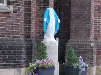 Beheaded statue of the Virgin Mary outside Toronto church