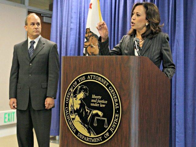 California Attorney General Kamala Harris, right, announces a lawsuit against law firms engaged in national mortgage fraud as Bill Hebert, left, President of the State Bar of California, left, looks on during a news conference in San Francisco, Thursday, Aug. 18, 2011. California prosecutors filed a major lawsuit against several …