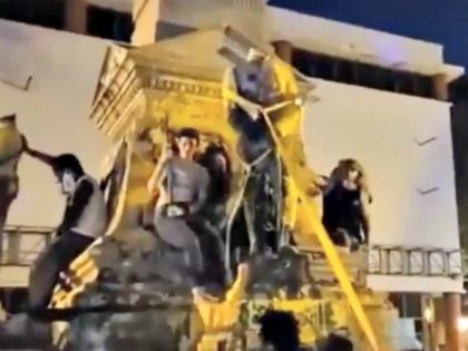 Confederate Monument Pulled Down, Falls on Protester