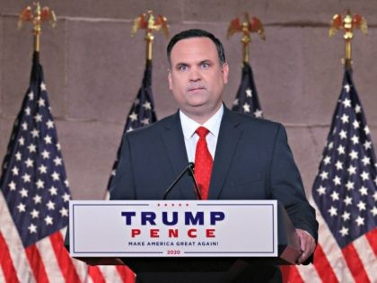 WASHINGTON, DC - AUGUST 26: In a prerecorded address for the Republican National Convention released August 27, 2020, White House Deputy Chief of Staff for Communications Dan Scavino speaks inside the empty Mellon Auditorium August 26, 2020 in Washington, DC. The novel coronavirus pandemic has forced the Republican Party to …