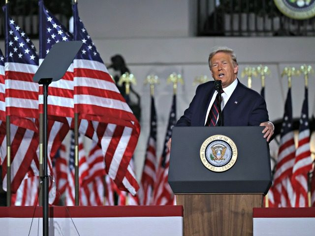 WASHINGTON, DC - AUGUST 27: U.S. President Donald Trump delivers his acceptance speech for the Republican presidential nomination on the South Lawn of the White House August 27, 2020 in Washington, DC. Trump gave the speech in front of 1500 invited guests. (Photo by Chip Somodevilla/Getty Images)
