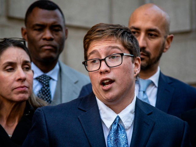 Transgender student Drew Adams speaks with reporters outside of the 11th Circuit Court of Appeals on Thursday, Dec. 5, 2019, in Atlanta. Adam's fight over school bathrooms comes before a federal appeals court Thursday, setting the stage for a groundbreaking ruling. Adams, who has since graduated from Nease High School …