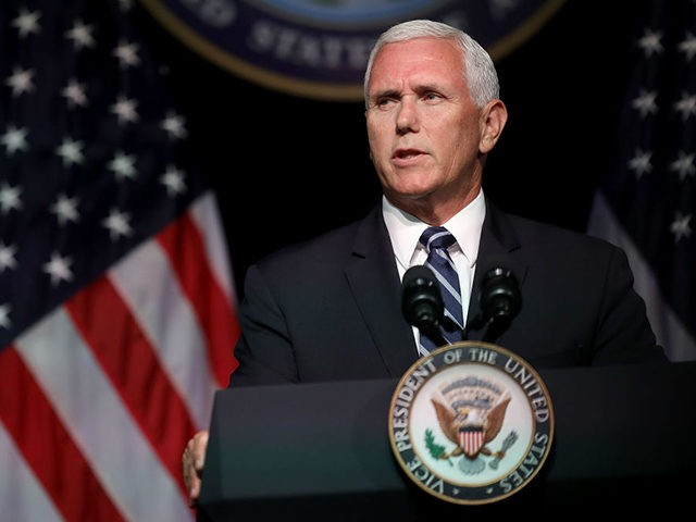 ARLINGTON, VA - AUGUST 09: U.S. Vice President Mike Pence announces the Trump Administration's plan to create the U.S. Space Force by 2020 during a speech at the Pentagon August 9, 2018 in Arlington, Virginia. Describing space as adversarial and crowded and citing threats from China and Russia, Pence said …