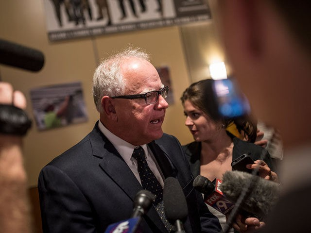ST PAUL, MN - AUGUST 14: DFL candidate for Governor Rep. Tim Walz (D-MN) speaks with media members at his election night party on August 14, 2018 in St Paul, Minnesota. Minnesota, Connecticut, Vermont and Wisconsin held primary elections today. (Photo by Stephen Maturen/Getty Images)