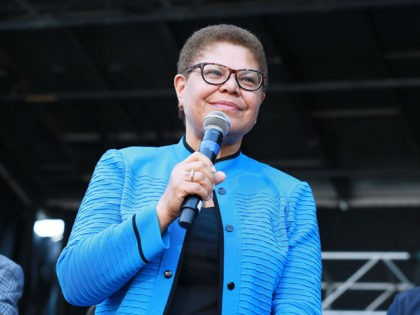 LOS ANGELES, CALIFORNIA - MAY 04: Congresswoman Karen Bass attends the official unveiling of City Of Los Angeles' Obama Boulevard in honor of the 44th President of the United States of America on May 04, 2019 in Los Angeles, California. (Photo by Leon Bennett/Getty Images)