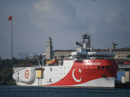 This picture taken on August 23, 2019 in Istanbul shows a view of Turkish General Directorate of Mineral research and Exploration's (MTA) Oruc Reis seismic research vessel docked at Haydarpasa port, which searches for hydrocarbon, oil, natural gas and coal reserves at sea. (Photo by Ozan KOSE / AFP) (Photo …