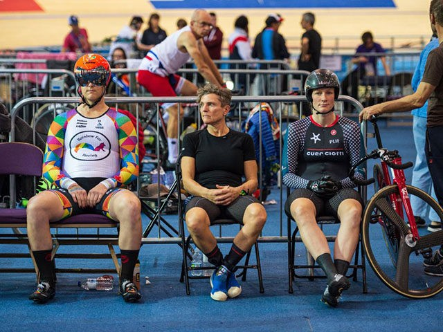 Canadian cyclist Rachel McKinnon (L) prepares to race against Australian Amber Walsh (2nd R) in their F35-39 sprint semi-final during the 2019 UCI Track Cycling World Masters Championship, in Manchester on October 19, 2019. - Transgender cyclist Rachel McKinnon has defended her right to compete in women's sport despite accepting …