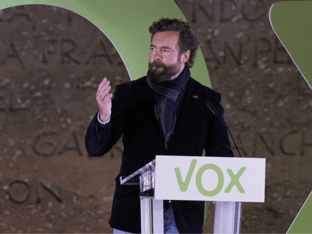 MADRID, SPAIN - NOVEMBER 08: Ivan Espinosa de los Monteros speaks during the far right Vox party final rally on November 08, 2019 in Madrid, Spain. Spain holds its fourth general election in four years on Sunday 10th November in a hope to break prolonged political deadlock. After the last …