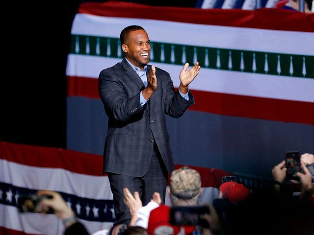 Republican Senate candidate from Michigan, John James speaks at a Keep America Great Rally at Kellogg Arena on December 18, 2019, in Battle Creek, Michigan. (Photo by JEFF KOWALSKY / AFP) (Photo by JEFF KOWALSKY/AFP via Getty Images)