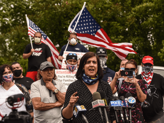 Nicole Malliotakis, New York State Assembly woman, speaks at a rally in front of a tanning salon called Sunbelievable on May 28, 2020 in the Staten Island borough in New York City. Bobby Catone planned to open his salon in defiance of New York City Covid-19 guidelines. (Photo by Stephanie …