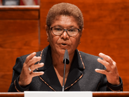 U.S. Rep. Karen Bass (D-CA) gives an opening statement during a Judiciary Committee hearing considering reforms to national policing practices June 17, 2020 in Washington, DC. The Democrat-led panel is pushing sweeping proposals that would ban chokeholds and no-knock warrants, and make prosecuting officers easier by limiting immunity and establishing …