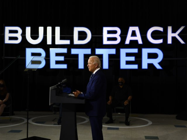 US Democratic presidential candidate Joe Biden speaks about on the third plank of his Build Back Better economic recovery plan for working families, on July 21, 2020, in New Castle, Delaware. (Photo by Brendan Smialowski / AFP) (Photo by BRENDAN SMIALOWSKI/AFP via Getty Images)