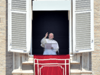 Pope Francis delivers his blessing from the window overlooking St. Peter's Square at the Vatican on August 2, 2020 during the Sunday Angelus prayer. (Photo by Filippo MONTEFORTE / AFP) (Photo by FILIPPO MONTEFORTE/AFP via Getty Images)