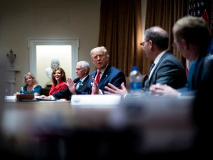 WASHINGTON, DC - AUGUST 03: U.S. President Donald Trump makes remarks as he meets with U.S. Tech Workers and signs an Executive Order on Hiring Americans, in the Cabinet Room of the White House on August 3, 2020 in Washington, DC. The executive order bans federal agencies from firing American …