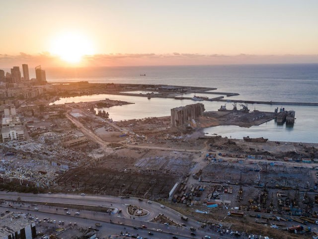 BEIRUT, LEBANON - AUGUST 05: An aerial view of ruined structures at the port, damaged by an explosion a day earlier, on August 5, 2020 in Beirut, Lebanon. As of Wednesday, more than 100 people were confirmed dead, with thousands injured, when an explosion rocked the Lebanese capital. Officials said …
