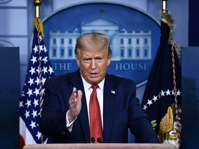 US President Donald Trump speaks to the press in the Brady Briefing Room of the White House in Washington, DC, on August 10, 2020. - Secret Service guards shot a person, who was apparently armed, outside the White House on Monday, President Donald Trump said just after being briefly evacuated …