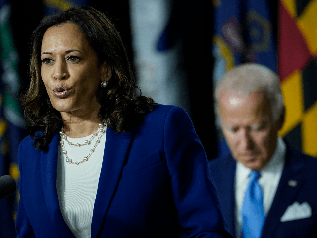 Democratic presidential candidate former Vice President Joe Biden's running mate Sen. Kamala Harris (D-CA) speaks during an event at the Alexis Dupont High School on August 12, 2020 in Wilmington, Delaware. Harris is the first Black woman and first person of Indian descent to be a presumptive nominee on a …