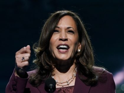 TOPSHOT - Senator from California and Democratic vice presidential nominee Kamala Harris speaks during the third day of the Democratic National Convention, being held virtually amid the novel coronavirus pandemic, at the Chase Center in Wilmington, Delaware on August 19, 2020. (Photo by Olivier DOULIERY / AFP) (Photo by OLIVIER …