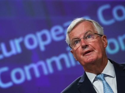 "EU's Brexit negotiator Michel Barnier holds a news conference after a meeting with Britain's chief negotiator in Brussels on August 21, 2020. - Barnier said he was worried and ""disappointed"" at the lack of progress in the latest round of Brexit trade talks. (Photo by YVES HERMAN / POOL / …"