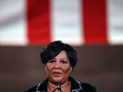 Alice Johnson, criminal justice reform advocate and former federal prisoner, addresses the Republican National Convention in a pre-recorded speech at the Andrew W. Mellon Auditorium, in Washington, DC, on August 27, 2020. (Photo by NICHOLAS KAMM / AFP) (Photo by NICHOLAS KAMM/AFP via Getty Images)