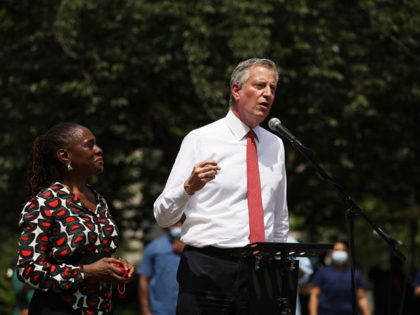 NEW YORK, NEW YORK - JUNE 04: New York Mayor Bill de Blasio speaks to an estimated 10,000 people as they gather in Brooklyn's Cadman Plaza Park for a memorial service for George Floyd, the man killed by a Minneapolis police officer on June 04, 2020 in New York City. …