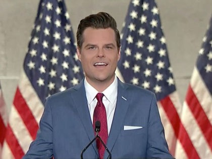 CHARLOTTE, NC - AUGUST 24: (EDITORIAL USE ONLY) In this screenshot from the RNC's livestream of the 2020 Republican National Convention, U.S. Rep. Matt Gaetz (R-FL) addresses the virtual convention on August 24, 2020. The convention is being held virtually due to the coronavirus pandemic but will include speeches from …