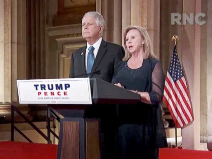 CHARLOTTE, NC - AUGUST 27: (EDITORIAL USE ONLY) In this screenshot from the RNC'Äôs livestream of the 2020 Republican National Convention, Carl and Marsha Mueller, parents of humanitarian worker Kayla Mueller who was killed by ISIS, address the virtual convention on August 27, 2020. The convention is being held virtually …