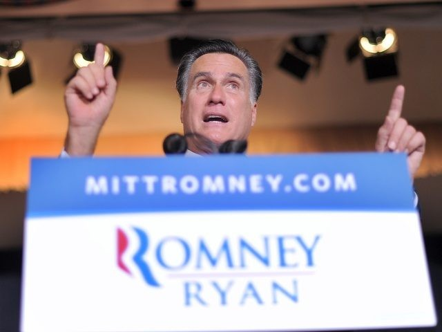 US Republican presidential candidate Mitt Romney speaks during a campaign rally at the Valley Forge Military Academy and College in Wayne, Pennsylvania, on September 28, 2012. With 39 days to go for the election and polls showing an narrowing path to victory for the Republican nominee, Romney warned a second …