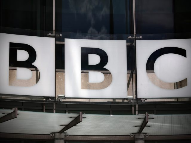 LONDON, ENGLAND - JULY 25: The logo for the Broadcasting House, the headquarters of the BBC is displayed outside on July 25, 2015 in London, England. The main Art Deco-style building of the British Broadcasting Corporation was officially opened on 15 May 1932 and has since seen extensive refurbishment with …