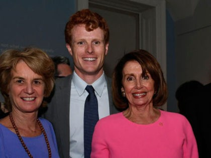 WASHINGTON, DC - MAY 02: (L-R) Kathleen Kennedy Townsend, rep Joe Kennedy III (D-MA), leader Nancy Pelosi (D-CA), Edwin Schlossberg and Ambassador Caroline Kennedy appear at American Visionary: John F. Kennedy's Life and Times debut gala at Smithsonian American Art Museum on May 2, 2017 in Washington, DC. (Photo by …