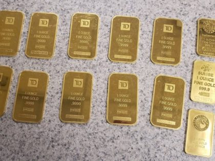 Houlton Sector Border Patrol agents seize 13 gold bars from a Chinese woman who illegally crossed the border from Canada into Maine. (Photo: U.S. Border Patrol/Houlton Sector)