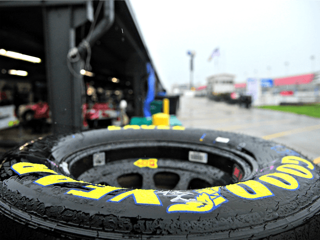 MADISON, IL - JUNE 22: A view of goodyear tires in the garage area during a rain delay prior to the start of practice for the NASCAR Gander Outdoors Truck Series CarShield 200 presented by CK at Gateway Motorsports Park on June 22, 2019 in Madison, Illinois. (Photo by Jeff …