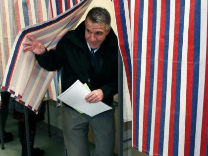 Republican Vermont Gov. Phil Scott smiles as he leaves the ballot booth after voting in Berlin, Vt., Tuesday, Nov. 6, 2018. Gov. Scott is facing Democratic gubernatorial challenger Christine Hallquist. (AP Photo/Charles Krupa)