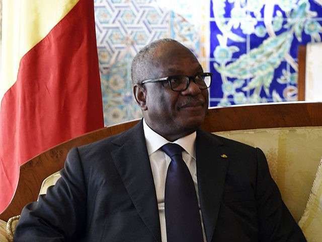 Mali president Ibrahim Boubacar Keita smiles during a meeting with President of the Algerian Senate, Abdelkader Bensalah (UNSEEN), in the capital Algiers on March 22, 2015. AFP PHOTO / FAROUK BATICHE (Photo credit should read FAROUK BATICHE/AFP via Getty Images)