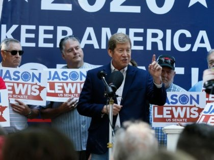 Republican and former U.S. Congressman Jason Lewis announces his run for a Senate seat in Minnesota Thursday, Aug. 22, 2019 at the State Fair in Falcon Heights, Minn. (AP Photo/Jim Mone)