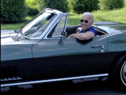 Joe Biden Driving Classic Car