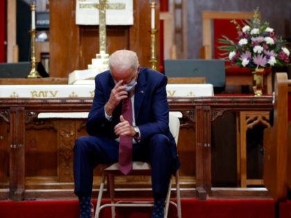 Democratic presidential candidate, former Vice President Joe Biden bows his head and prays as he visits Bethel AME Church in Wilmington, Del., Monday, June 1, 2020. (AP Photo/Andrew Harnik)